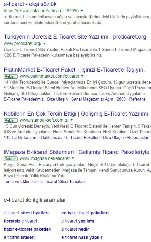 Google Arama Sonuçlarının Altından Ücretli Reklamlar