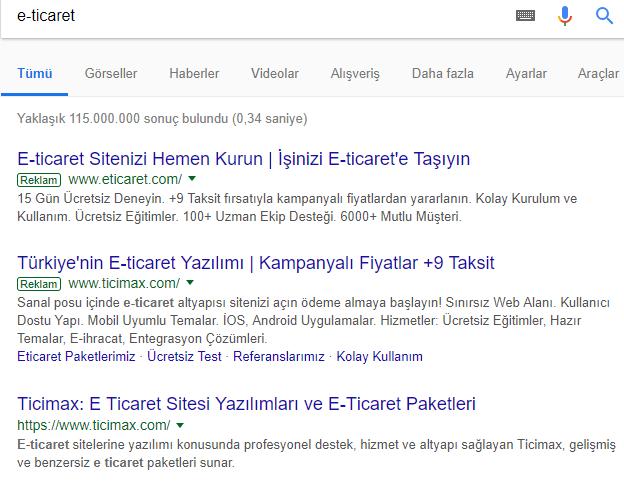 Google Arama Sonuçlarının Üstündeki Ücretli Reklamlar